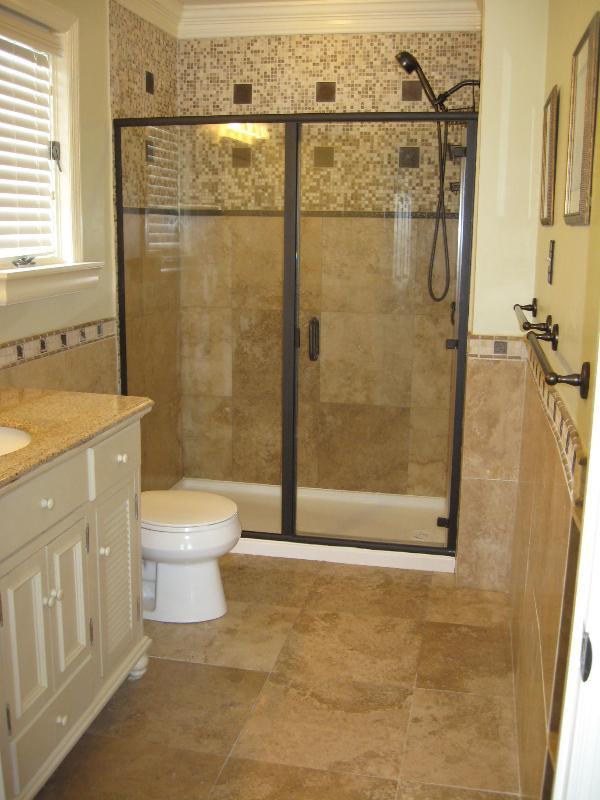 Master bathroom with Travertine