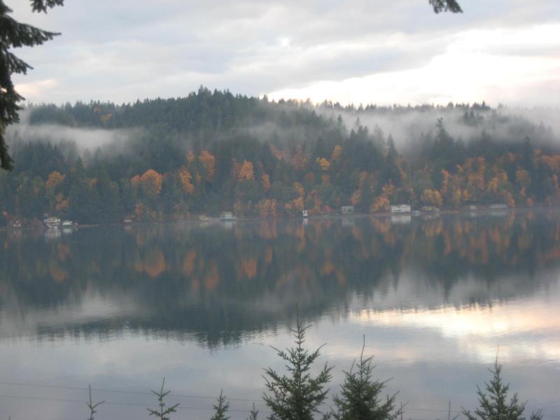 Uitzicht vanaf koetshuis in herfst