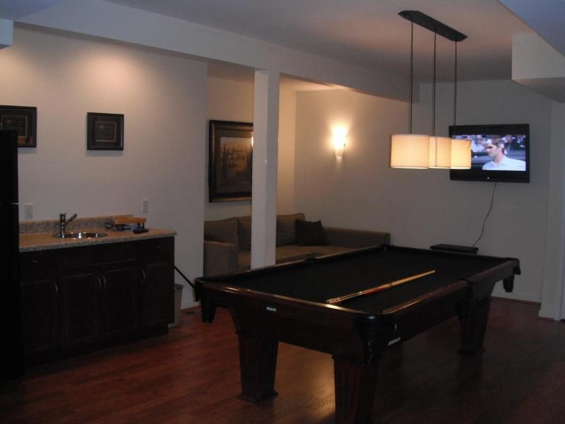 Downstairs living room with pool table, kitchenette and sleeping sofa