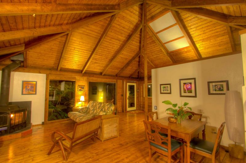 Relax and unwind in the wide open floor plan featuring all wood interior and 20 ft vaulted ceiling