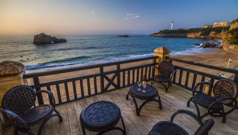The beachfront deck
