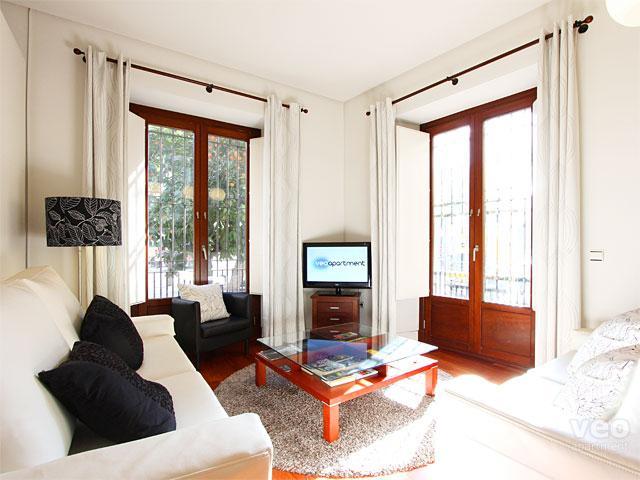 Séjour avec 2 canapés, fauteuil, table centrale et TV.