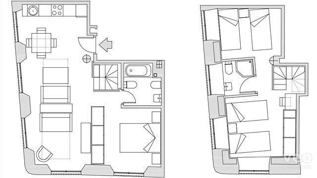 Los Terceros floorplan: 98m² | ground and lower-ground floors