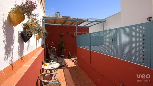 Private terrace equipped with outdoor seating and plants.