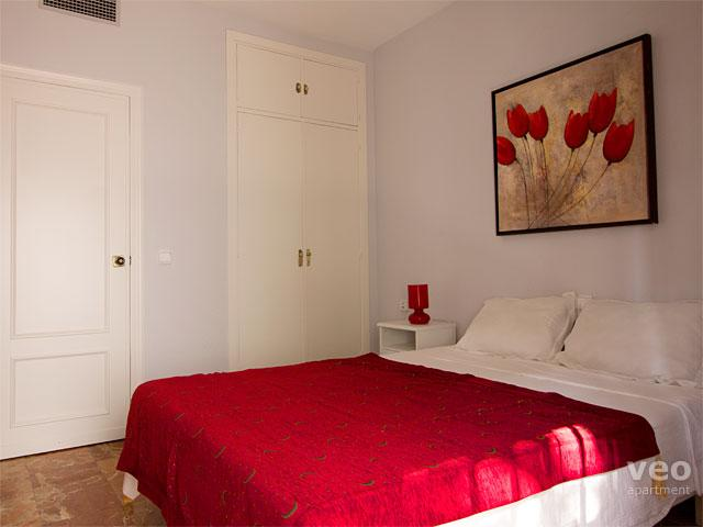 The bedroom has a built-in wardrobe to store your belongings.
