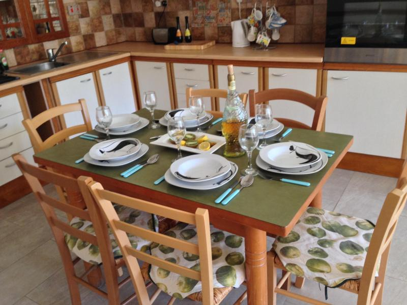 Fully equipped with plates, pots, cups and cutlery