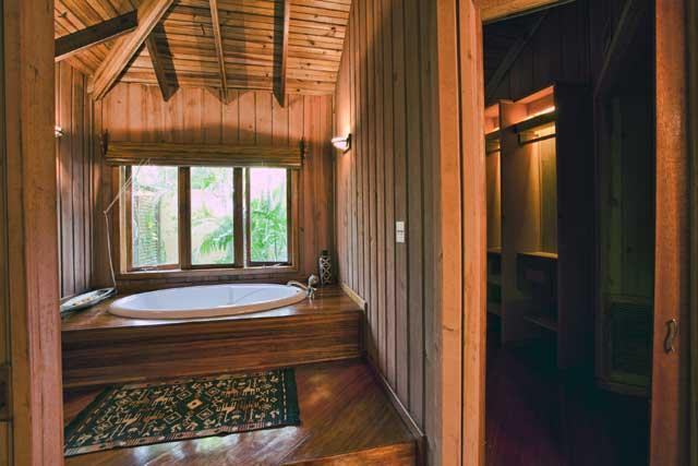 Master bath over looking a secluded water cascade