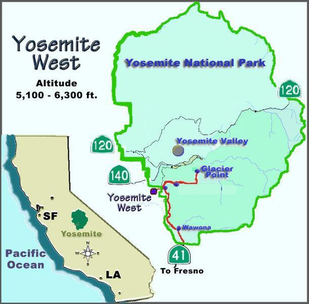 Mappa di Yosemite West