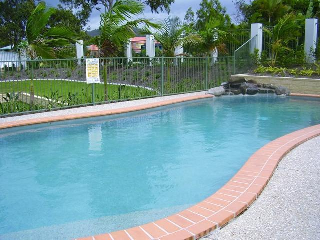 Pool area in a secured gated area.
