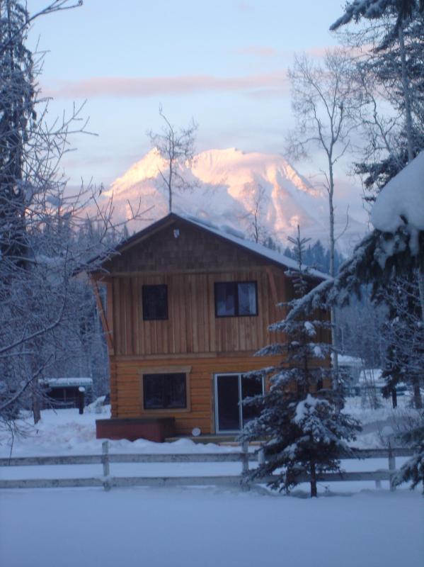 winter sunrise at Kicking Horse Kabins