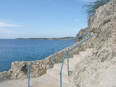 Brand new sweeping stairs down to the sea for a dip or a dive