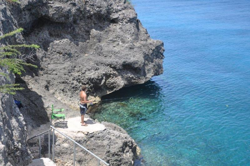 Fishing and snorkeling at the bottom of the steps at Marazul.