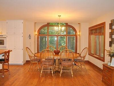 Sizeable dining area with winter view of mountain