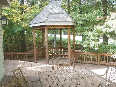 Outside Picture of Deck and Gazebo - Golf Course is yards away from house