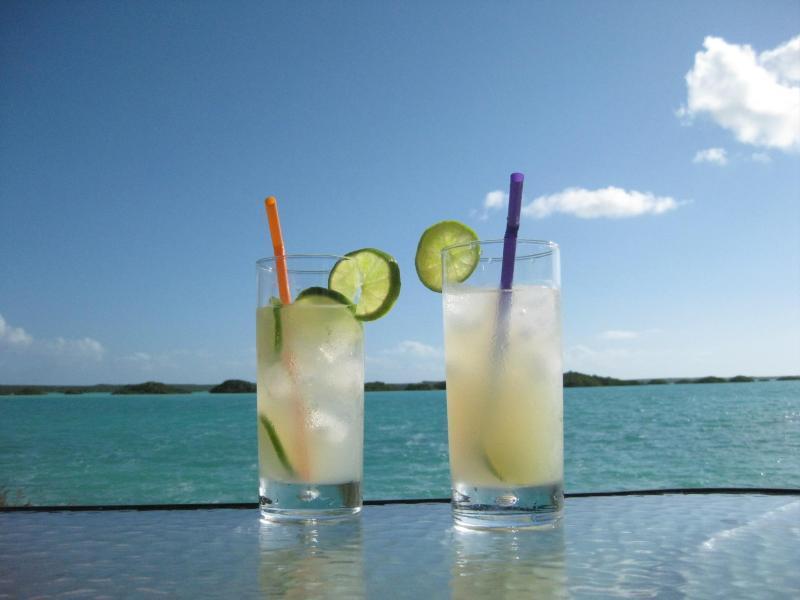 Enjoy cocktails on the water-side sundeck