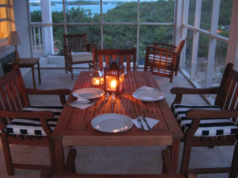 Dine on the screened porch