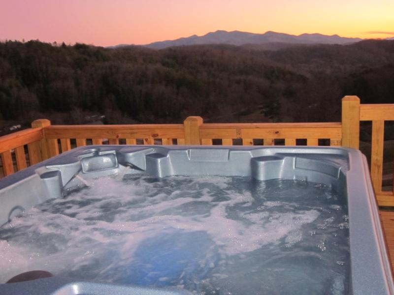 Enjoying the hot tub at sunset is a great way to end a day!