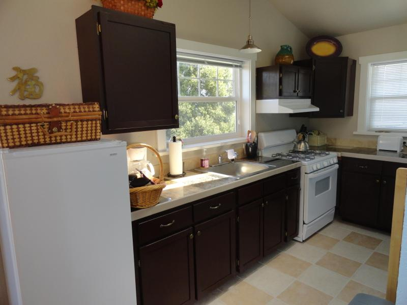 Kitchen with gas stove, refrigerator, microwave, toaster and kitchen utensils