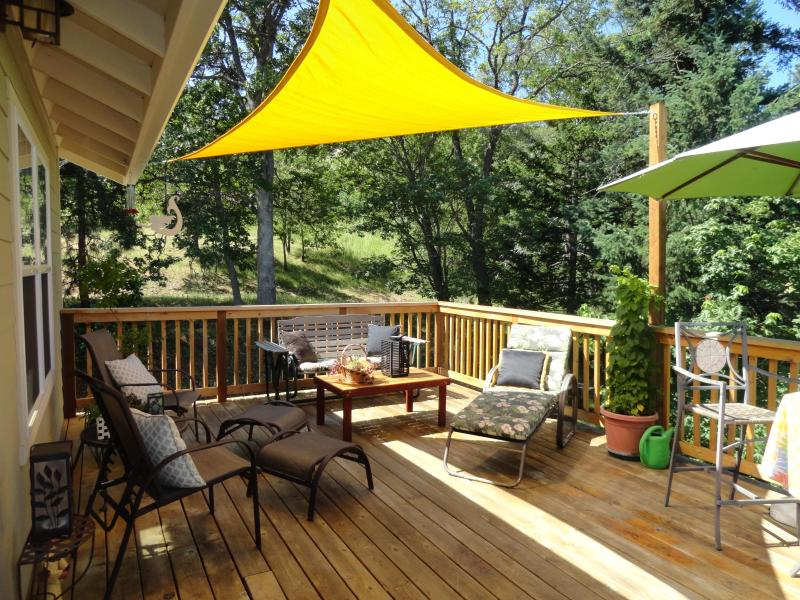 View of the deck with sunny and shaded areas