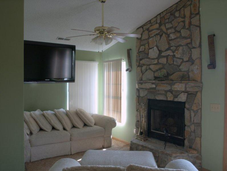 Master Sitting area with stone fireplace