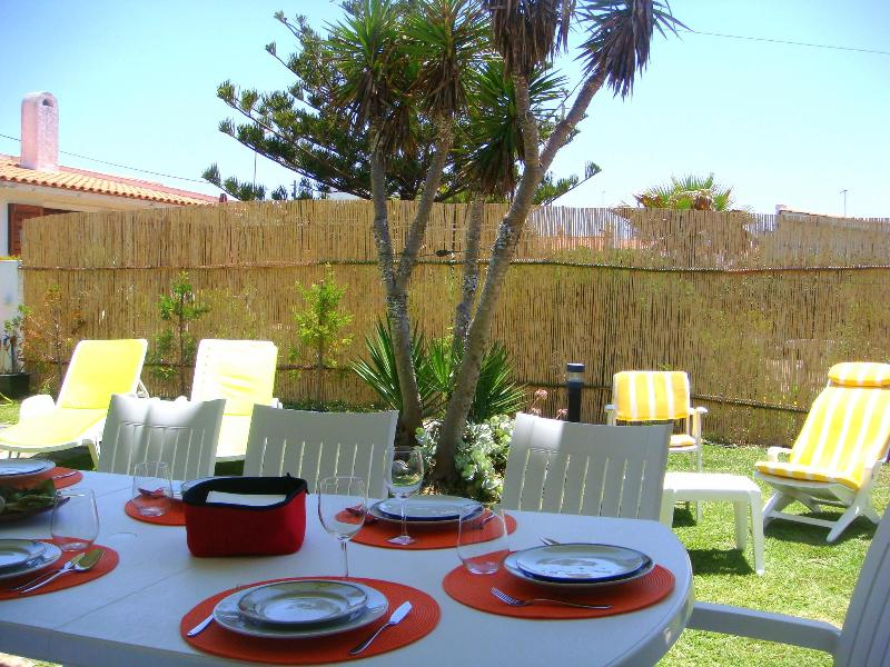 Jardin avec une grande table pour les repas
