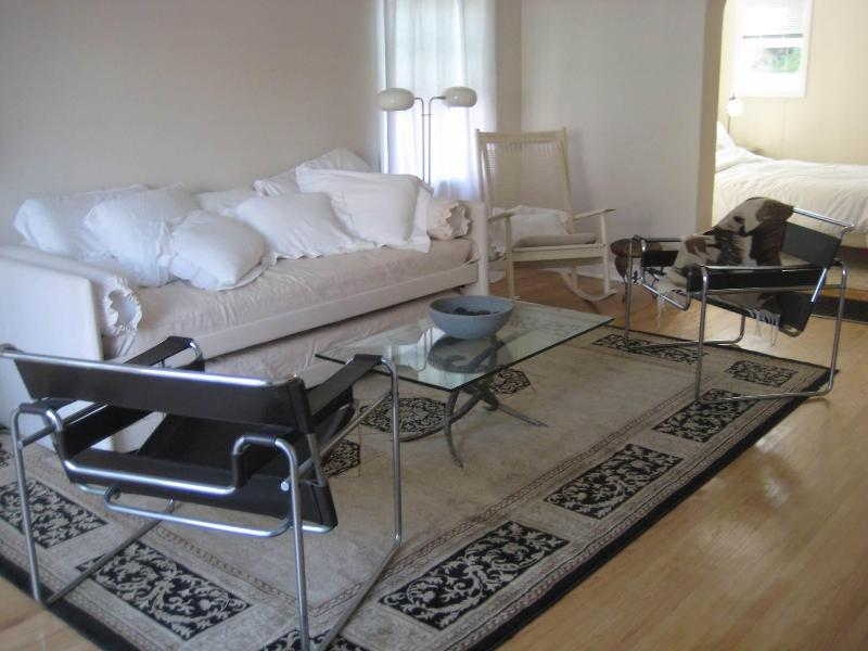 Living area has all European furnishings, e.g., Wasily chairs, Italian day-bed for extra guests.