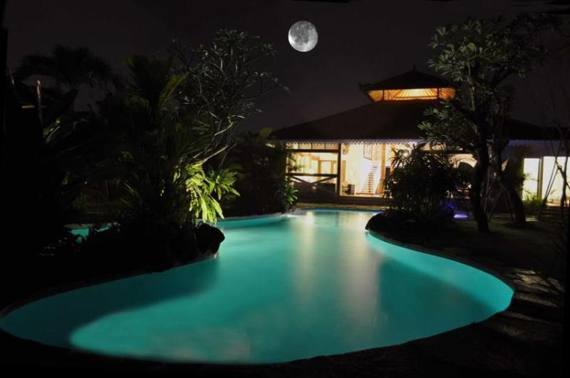 16 m lagoon swimming pool at night