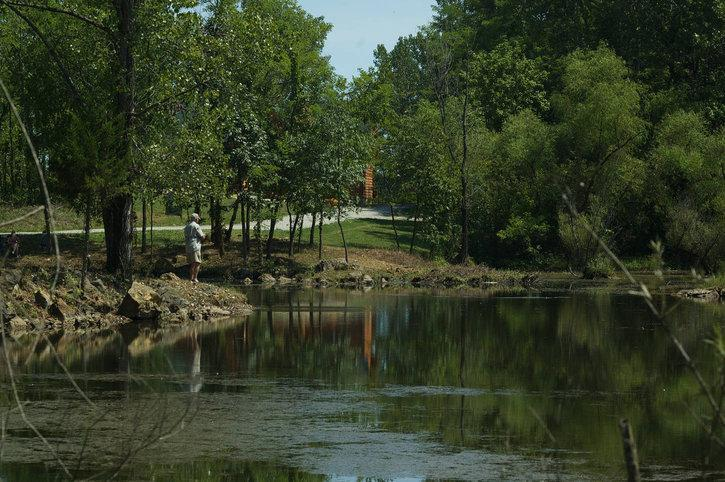 Young and old anglers love fishing for bass, bluegills and catfish at the Circle O 'Rock Pond'