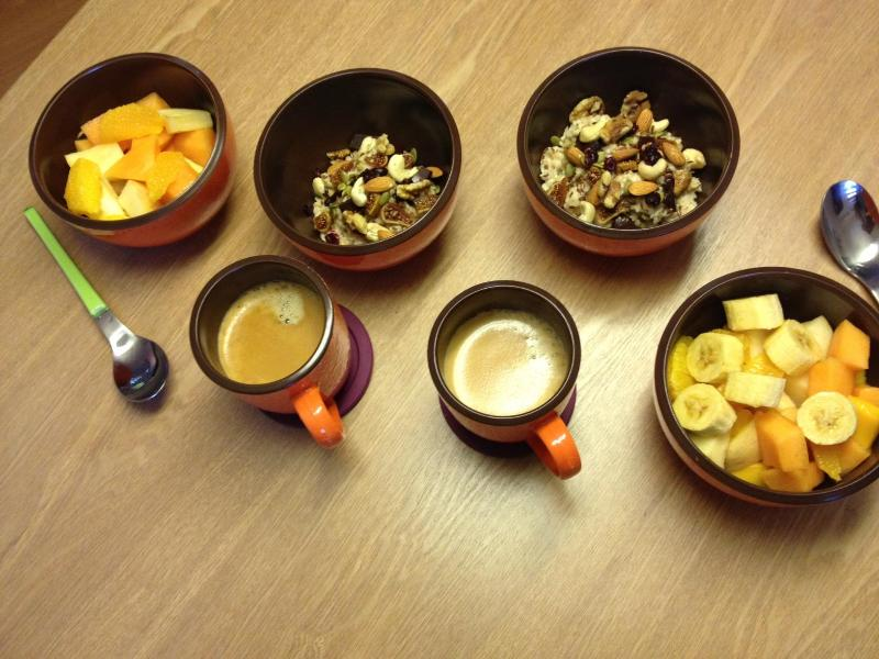 Oats with Nuts , Fruits and Dark Chocolate for Breakfast