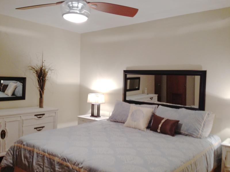 Master bedroom with new king size bed - newly remodeled