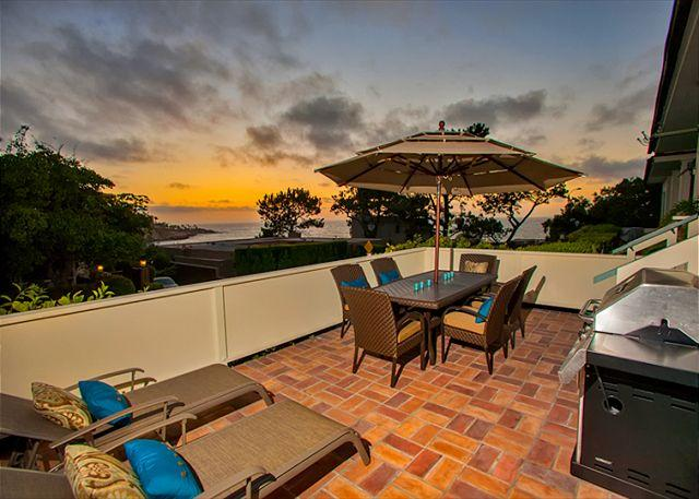 Ocean view patio is perfect for sunset dining.
