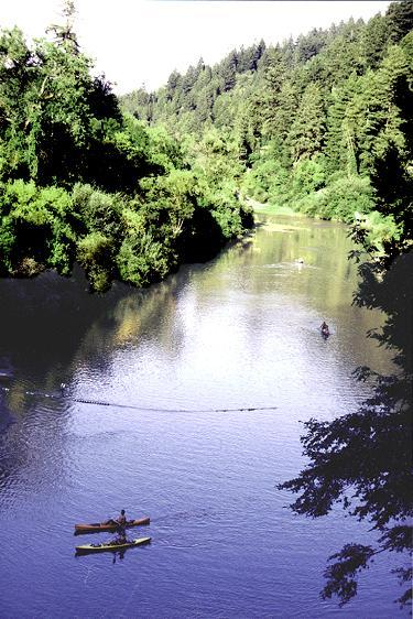 Canoeing on the Russian River. canoe rental is available 2 miles away at Burke's Canoe Rental.