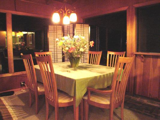 Dining area at night