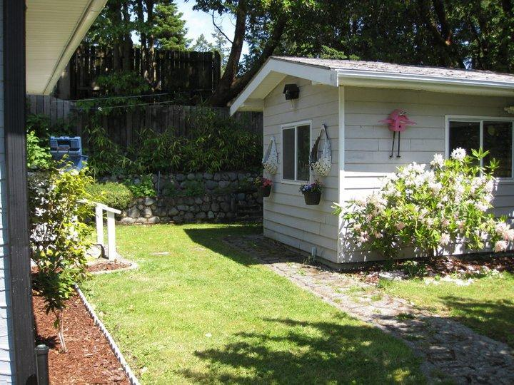 Backyard with entrance to study