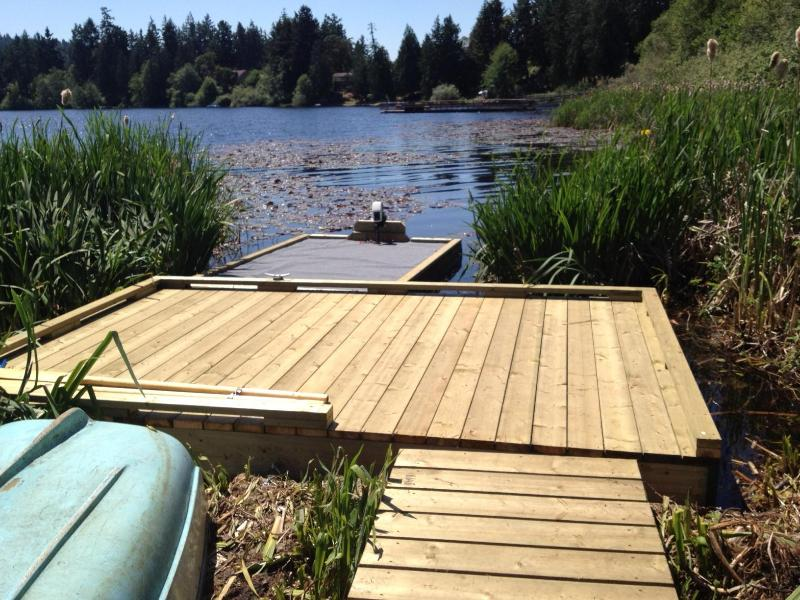 Cruise the lake on your transportable floating dock!  Electric motor and some lifejackets included