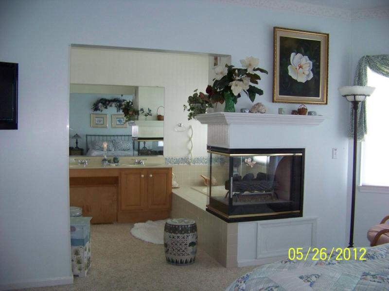 Three-sided fireplace separates the bedroom from the Vanity & Jacuzzi Tub. Flat Screen TV left edge.