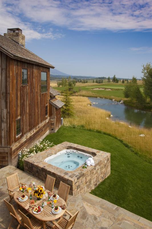 Private Stone Terrace with Hot Tub