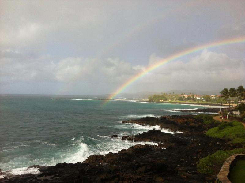 The lanai and shoreline seen from the east end of the Poipu Shores property, exceptional views!