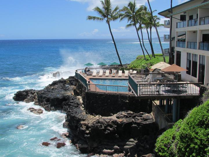 Yes, the lanai does actually sit over the ocean, turtles in the water below, surfing the waves.