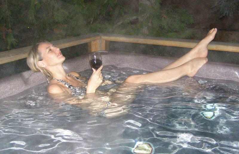 Relax in the hot tub on the deck (it only fits 6 at a time though, or it's 'Dude Soup'