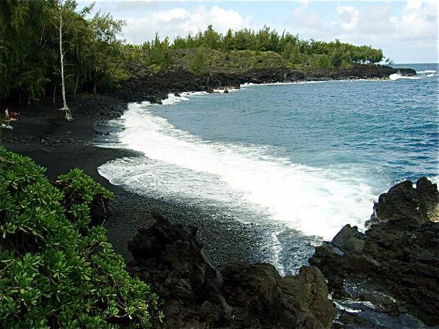 Beautiful black sand beach one mile south of Seaview.