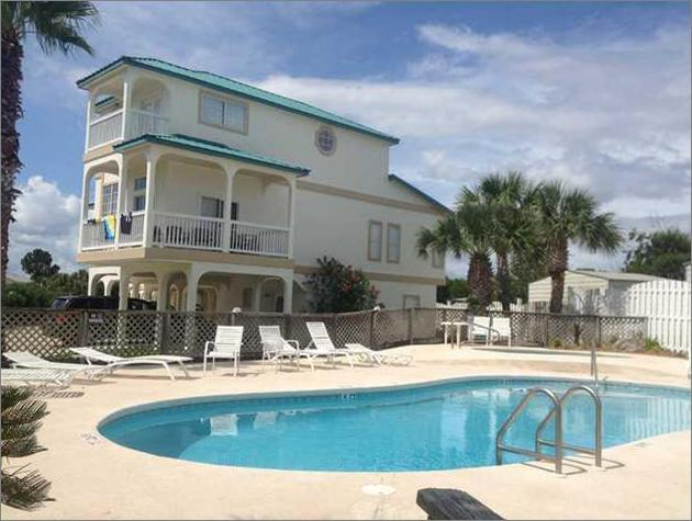 Pool, Hot tub, lounge chairs & grills only steps from the door.