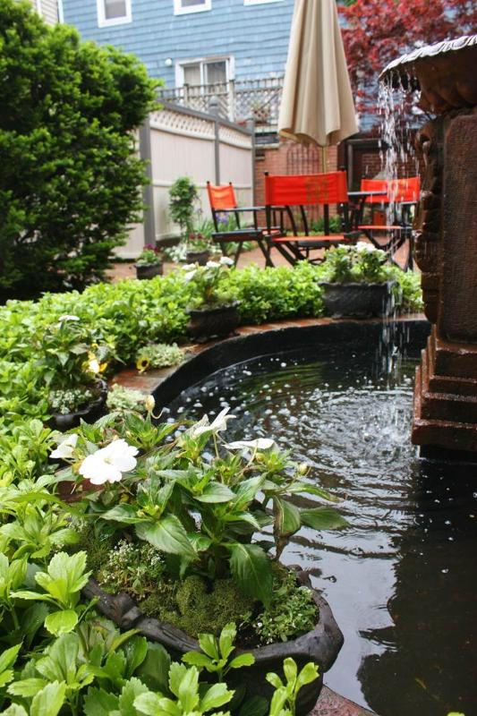 Fountain in garden courtyard