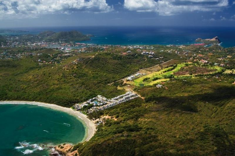 aerial view of cotton bay across to rodney bay