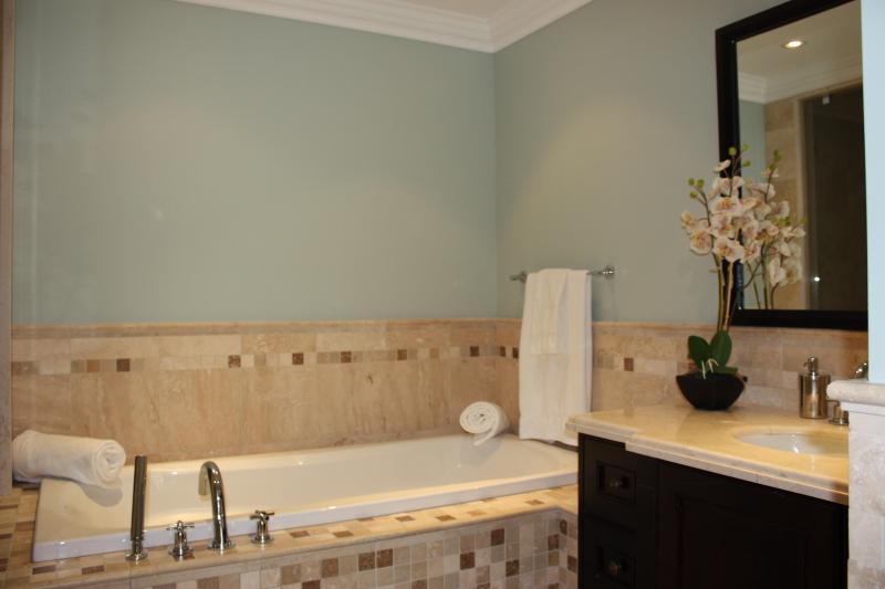 Master salle de bain avec une grande baignoire & de douche de pluie