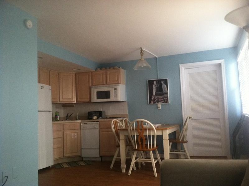 kitchen and dining, includes microwave, dishwasher, stove top and toaster oven.