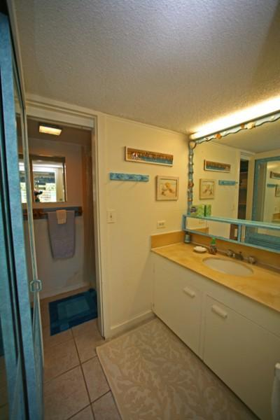 Bathroom consists of 2 rooms: sink and separate room with WC and tub/shower combinaton.