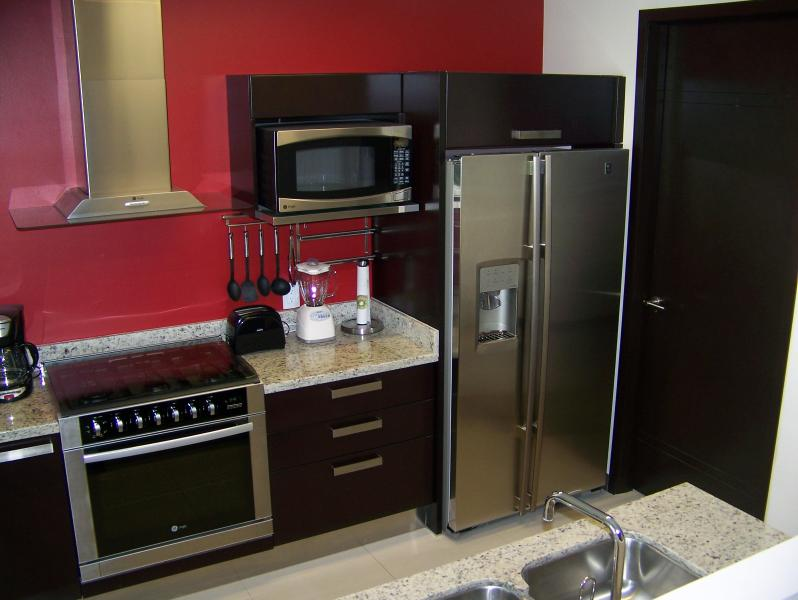 entièrement meublé cuisine ouverte ; laveuse/sécheuse à travers la porte