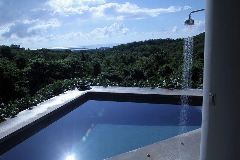 pool, shower, jungle and sea