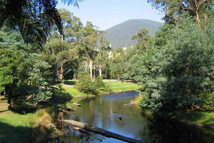 View of the Yarra River ambling through Warburton